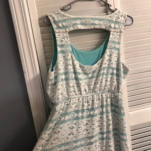 Maurices Dresses - Maurices Lace & Teal High-Low Dress (0X)